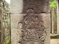 Asisbiz Bayon Temple Bas relief pillars three dancing apsaras Angkor 14