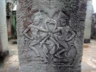Asisbiz Bayon Temple Bas relief pillars two dancing apsaras Angkor 01