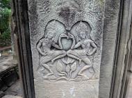 Asisbiz Bayon Temple Bas relief pillars two dancing apsaras Angkor 04