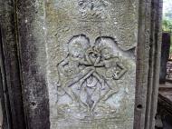 Asisbiz Bayon Temple Bas relief pillars two dancing apsaras Angkor 07