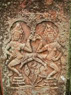 Asisbiz Bayon Temple Bas relief pillars two dancing apsaras Angkor 12