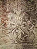 Asisbiz Bayon Temple Bas relief pillars two dancing apsaras Angkor 13