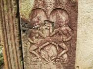 Asisbiz Bayon Temple Bas relief pillars two dancing apsaras Angkor 15