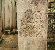 Asisbiz Bayon Temple Bas relief pillars two dancing apsaras Angkor 16