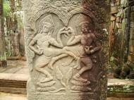 Asisbiz Bayon Temple Bas relief pillars two dancing apsaras Angkor 17