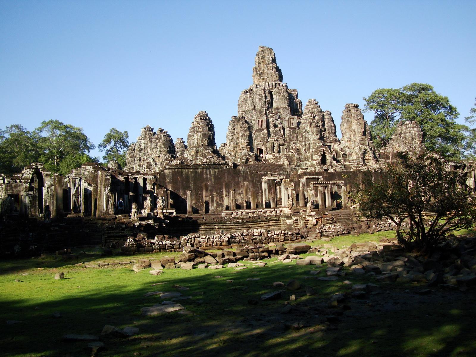 Bayon Temple NE panoramic views of NE corner outer walls Angkor Jan 2010 09