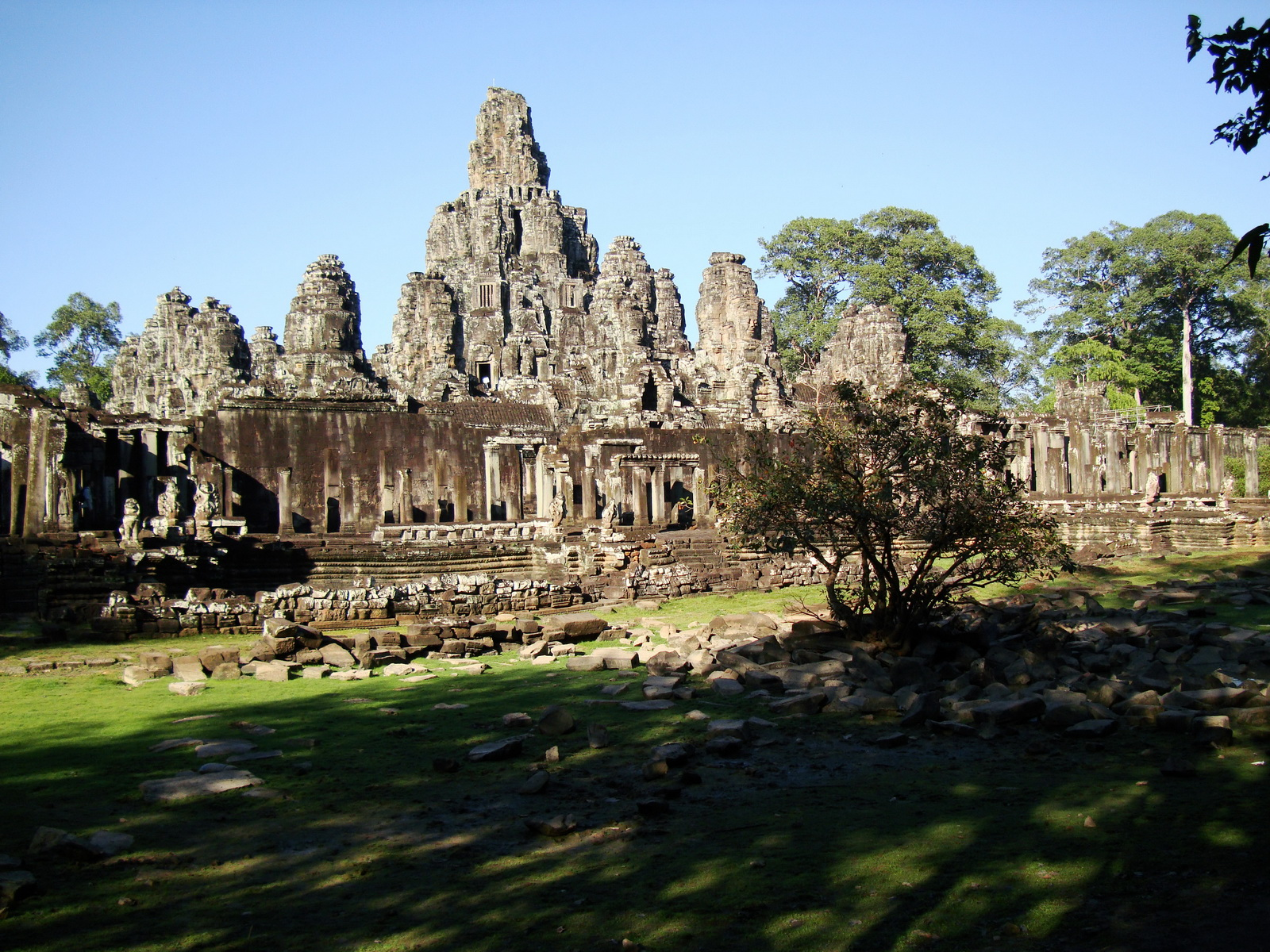Bayon Temple NE panoramic views of NE corner outer walls Angkor Jan 2010 11