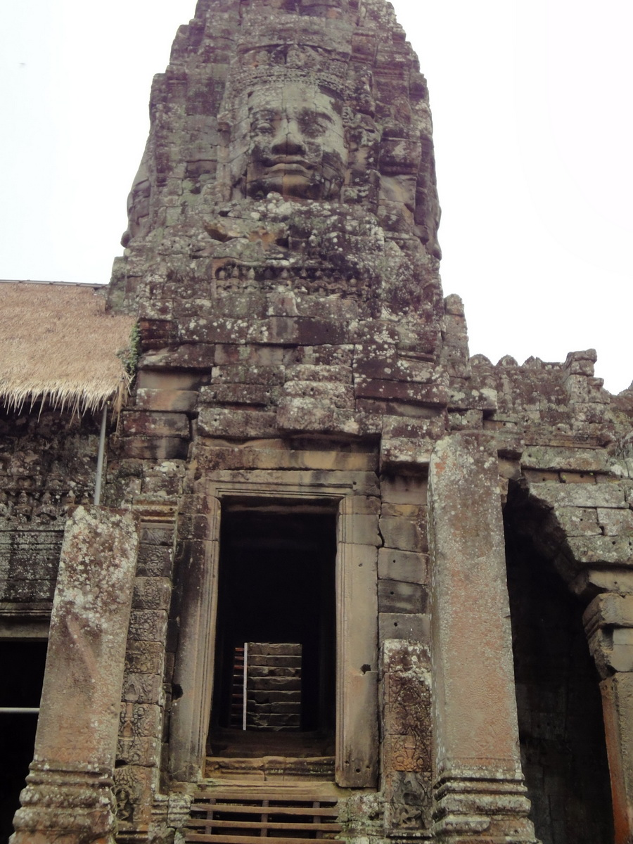Bayon Temple SW corner inner gallery face tower Angkor Siem Reap 10