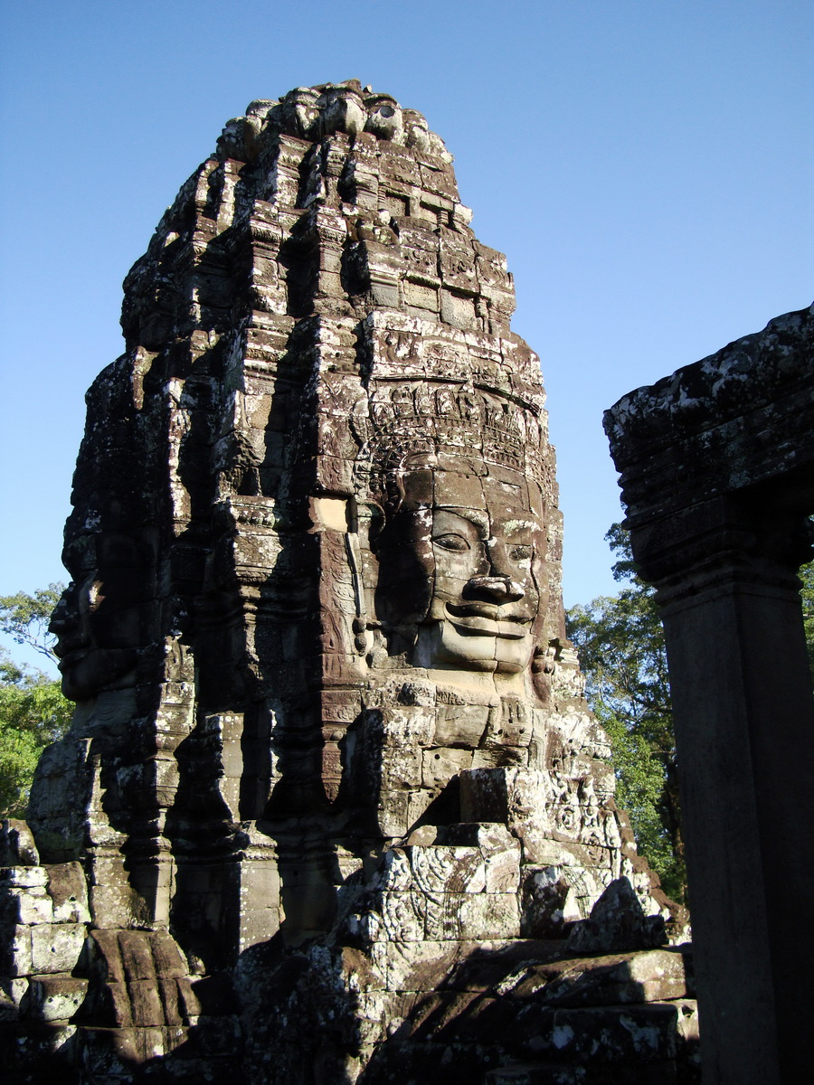 Bayon Temple SW inner gallery corner face towers Angkor Siem Reap 05