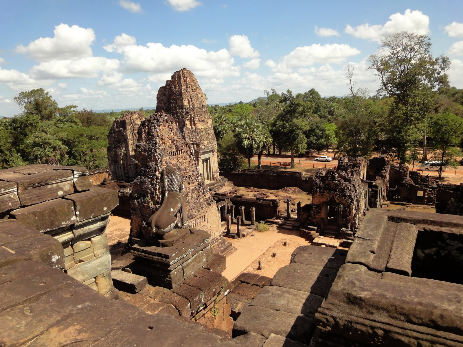 Facing East Pre Rup Temple outer towers East Baray 2010 02