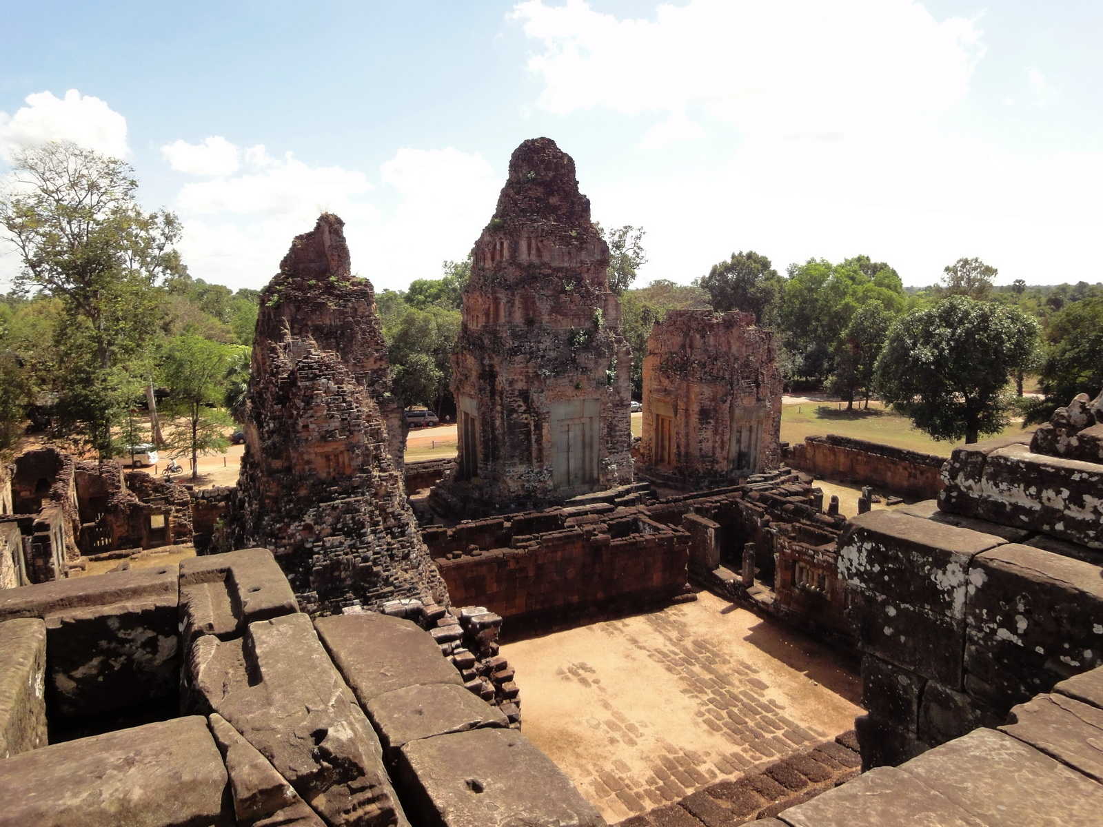 Facing East Pre Rup Temple outer towers East Baray 2010 03