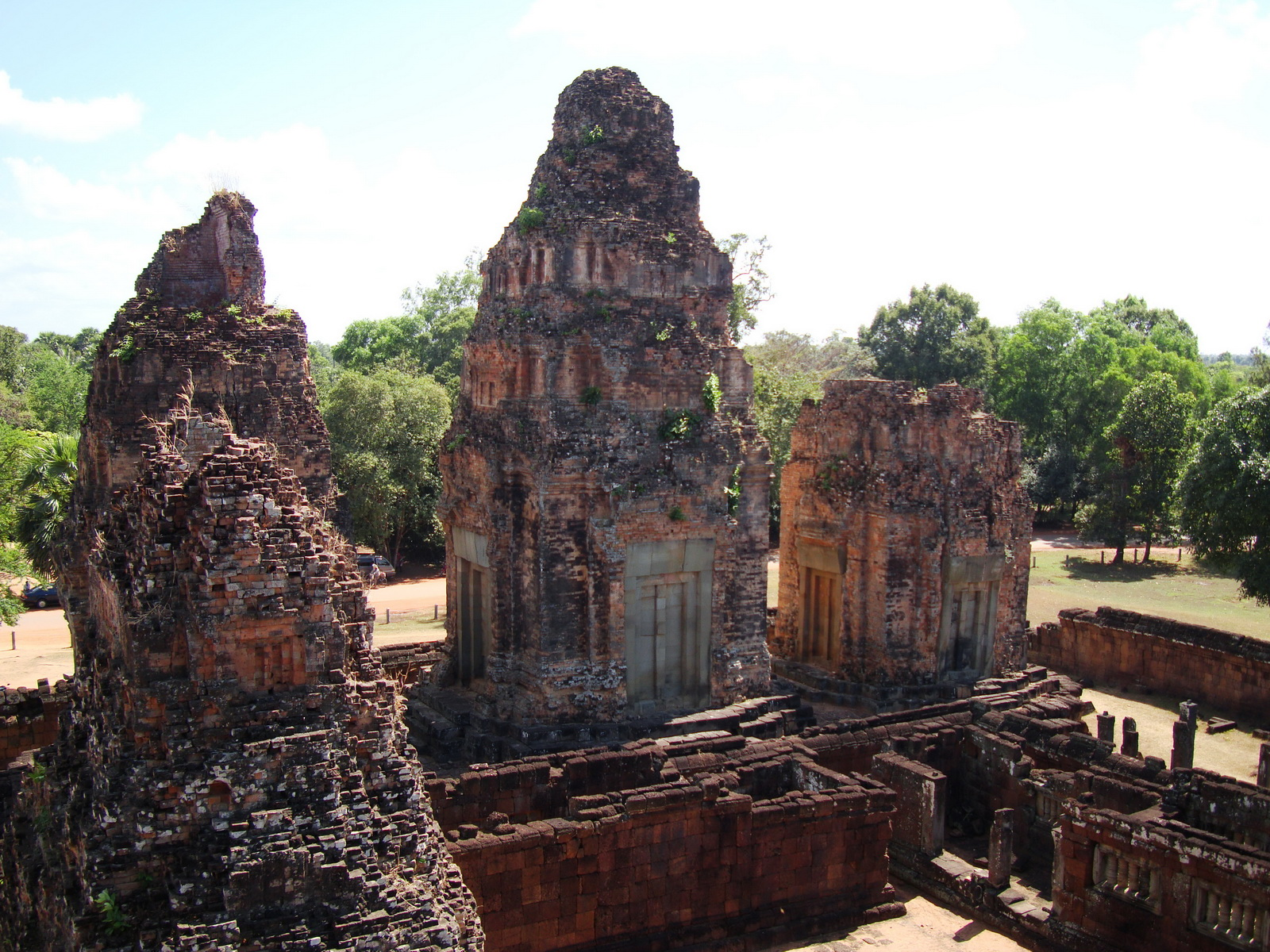 Facing East Pre Rup Temple outer towers East Baray 2010 04