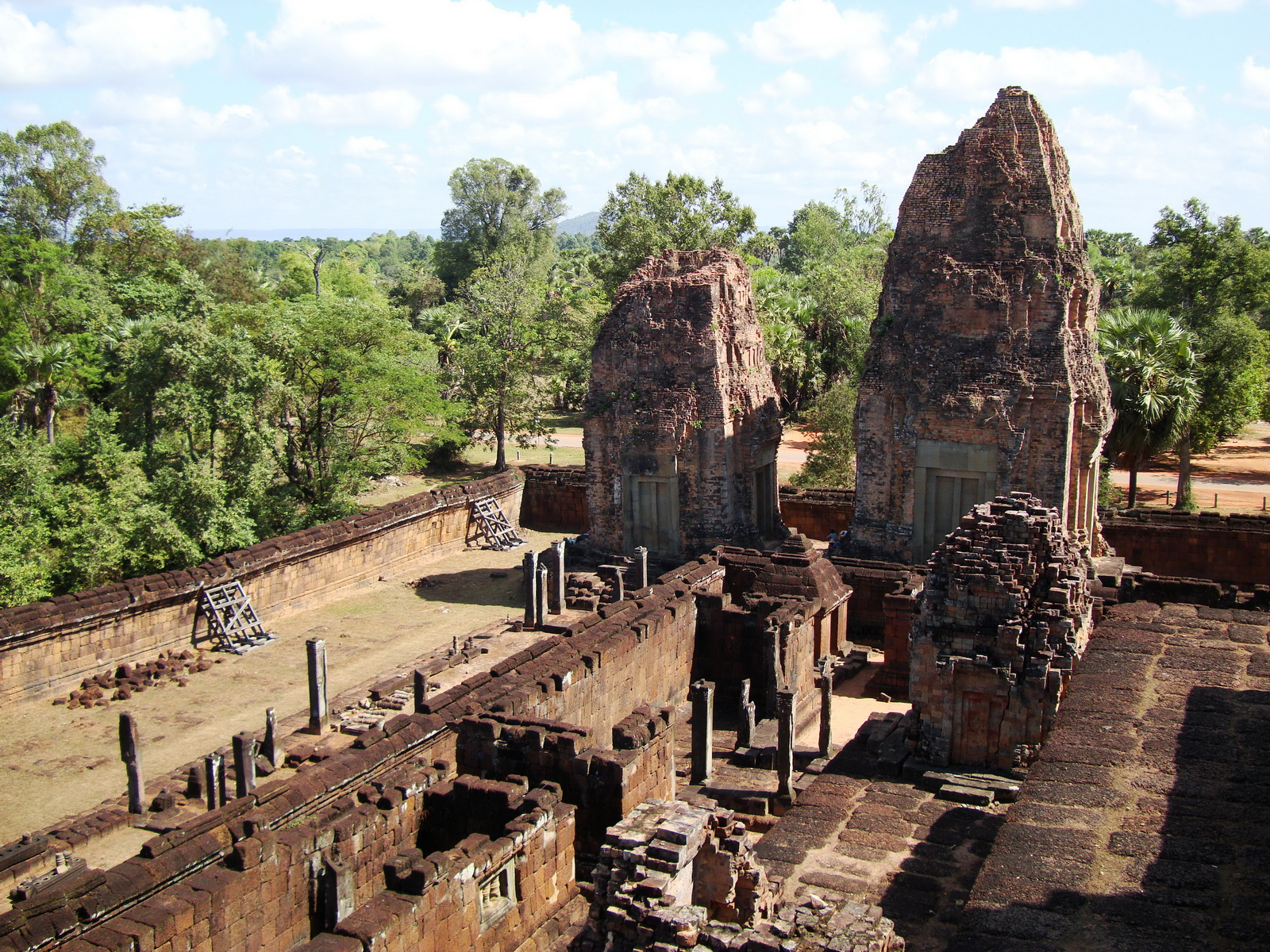 Facing North East Pre Rup Temple upper courtyard views East Baray 2010 01