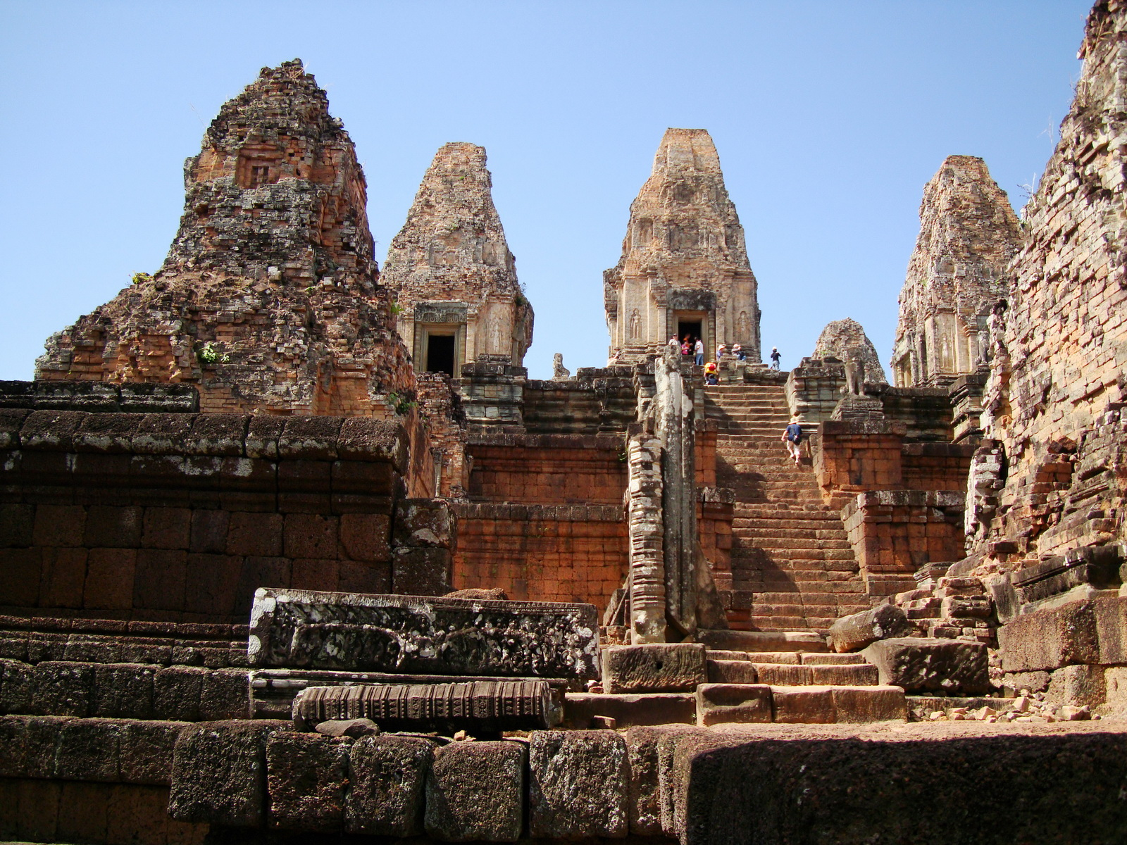 Facing West Pre Rup Temple central tower stairs East Baray 2010 01