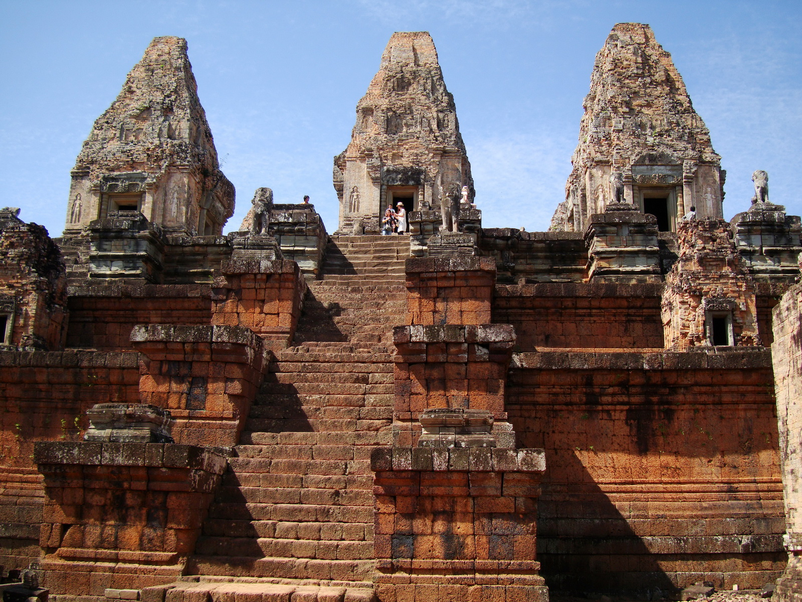Facing West Pre Rup Temple central towers stairs East Baray 2010 03