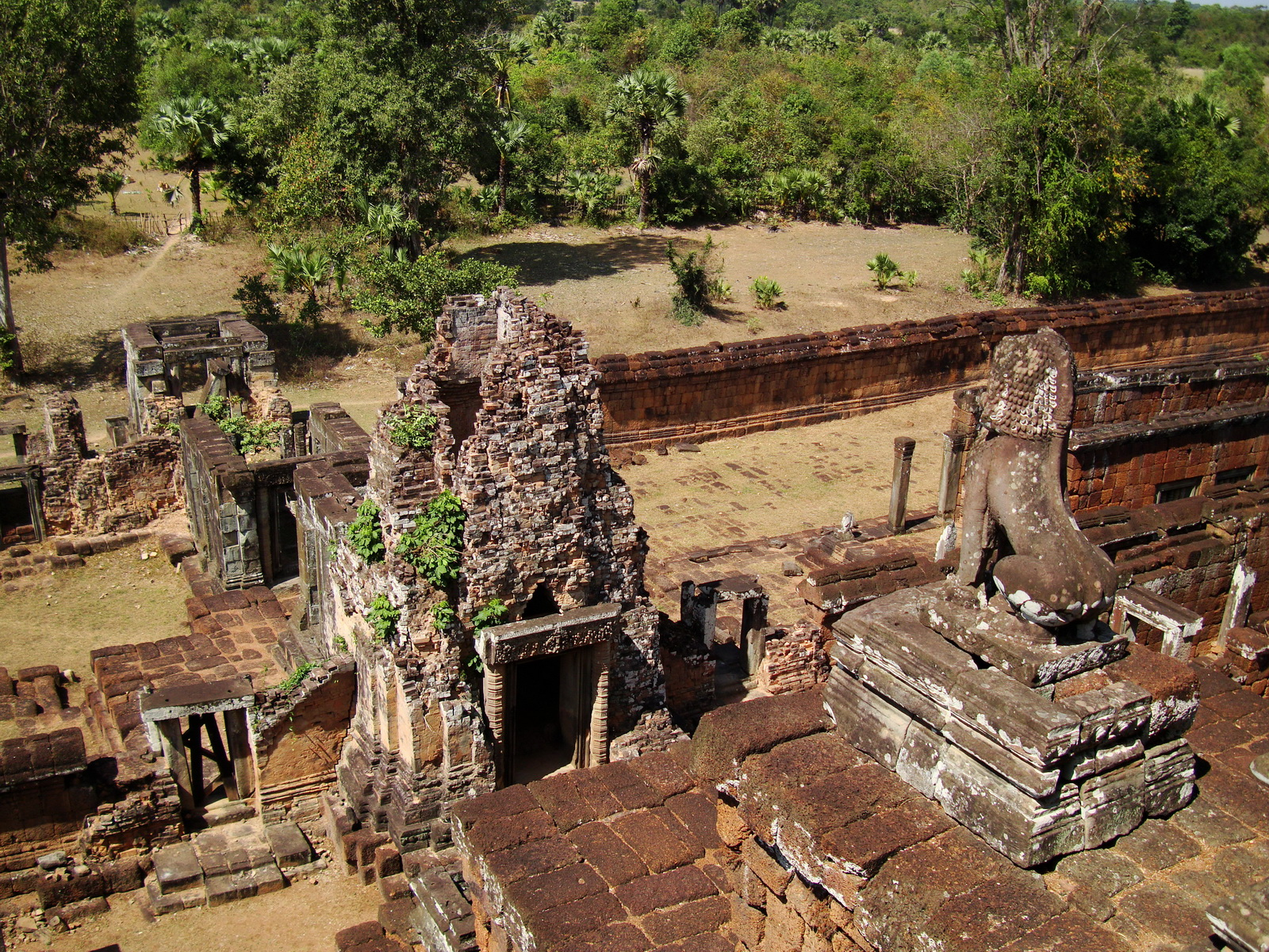 Facing West Pre Rup Temple upper courtyard views East Baray 2010 02