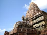 Asisbiz Facing NW Pre Rup Temple lion and upper tower East Baray 01