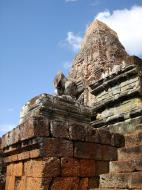 Asisbiz Facing NW Pre Rup Temple lion and upper tower East Baray 02