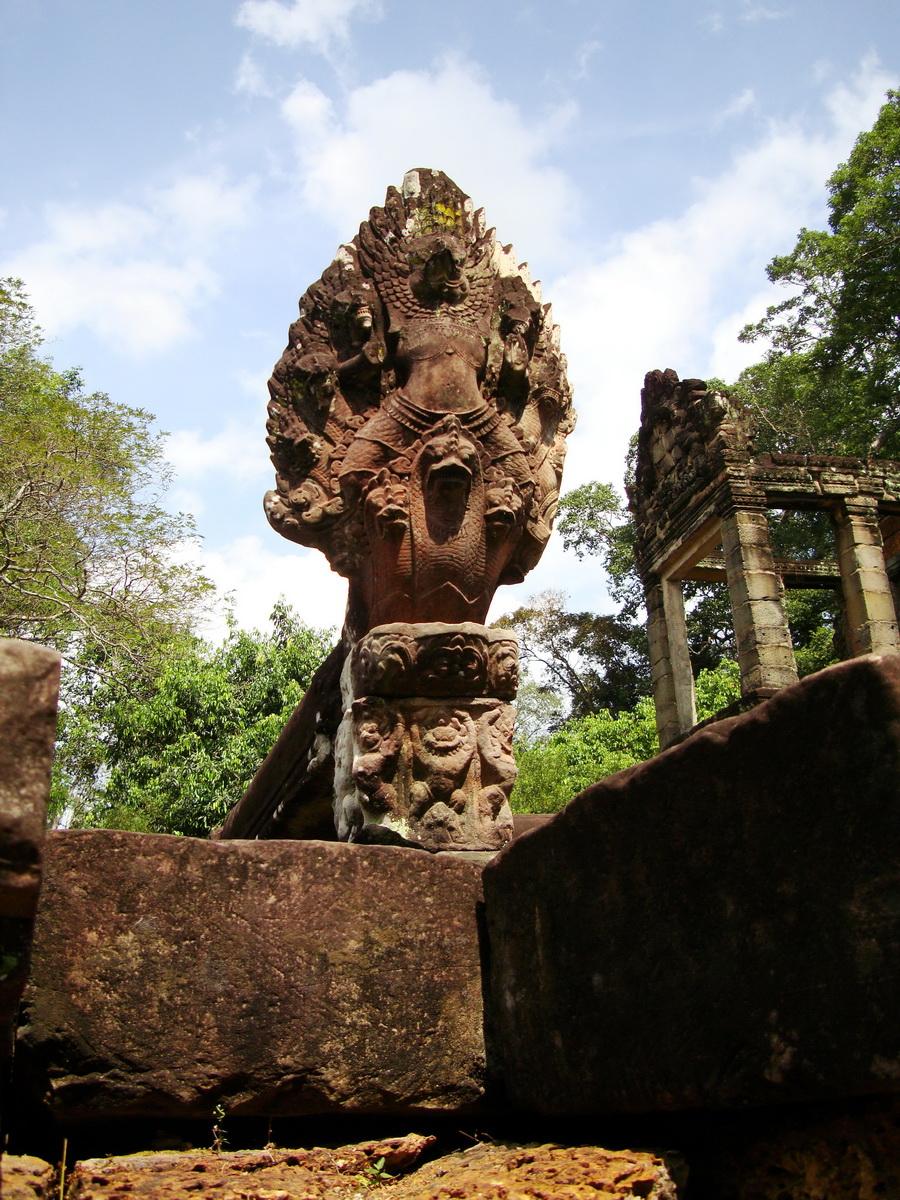 Preah Khan Bas relief 12th ce Khmer Style Naga and Garuda carvings 02