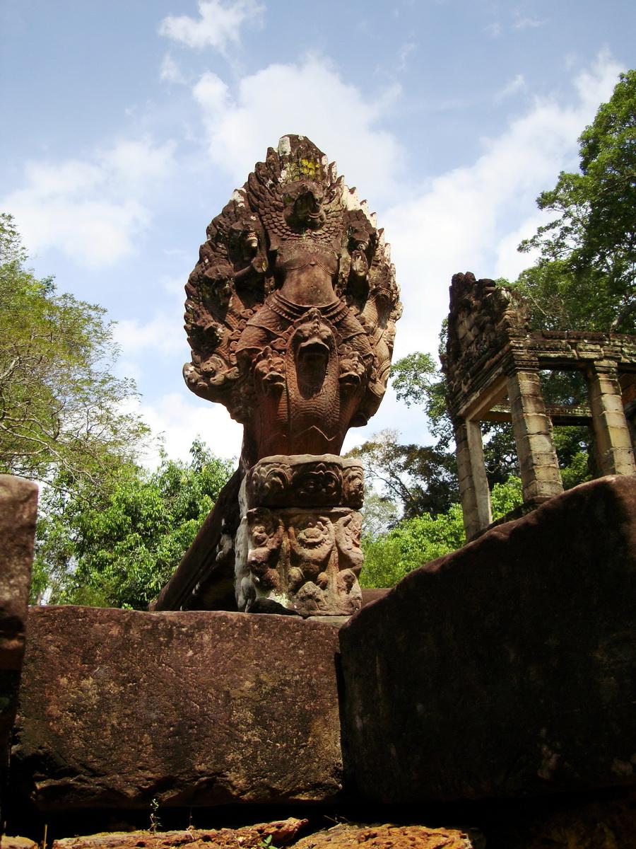 Preah Khan Bas relief 12th ce Khmer Style Naga and Garuda carvings 03