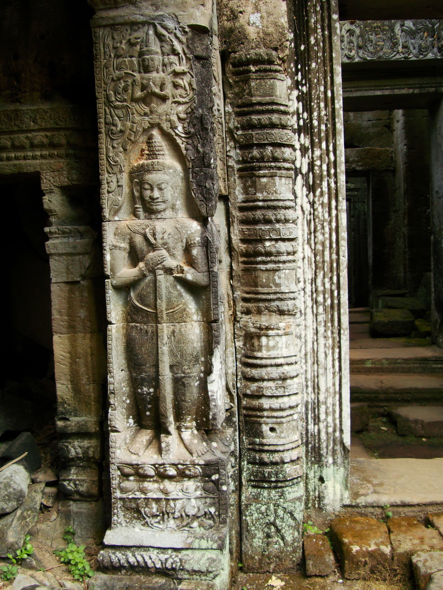 Preah Khan Bas relief mythic guardians Dvarapalas stand on guard 02