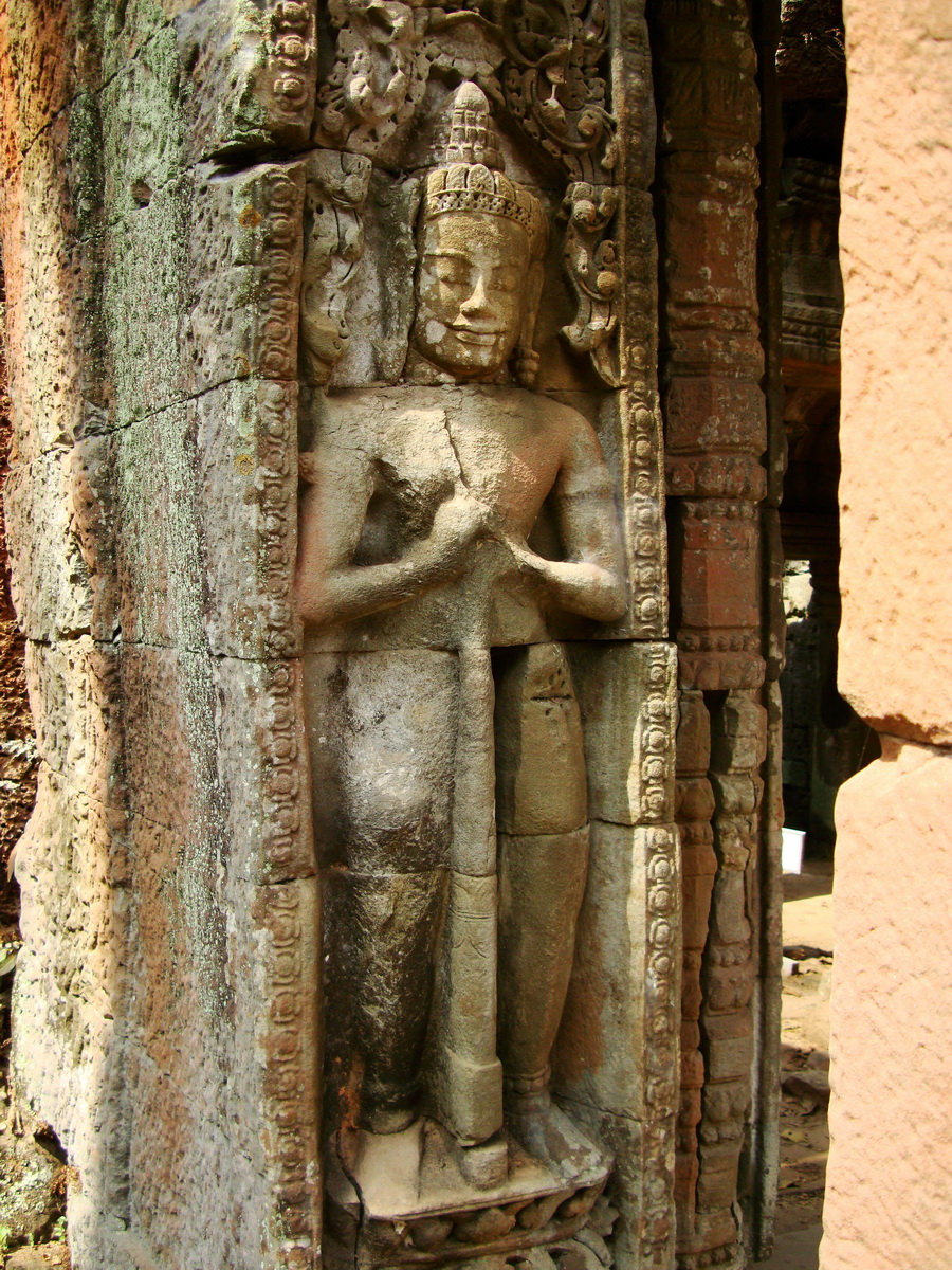 Preah Khan Bas relief mythic guardians Dvarapalas stand on guard 03