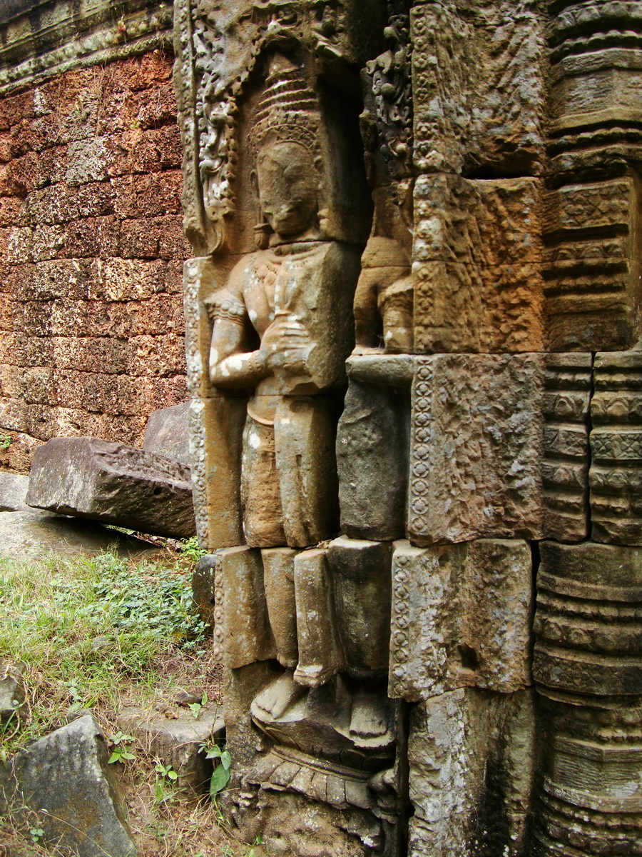 Preah Khan Bas relief mythic guardians Dvarapalas stand on guard 04