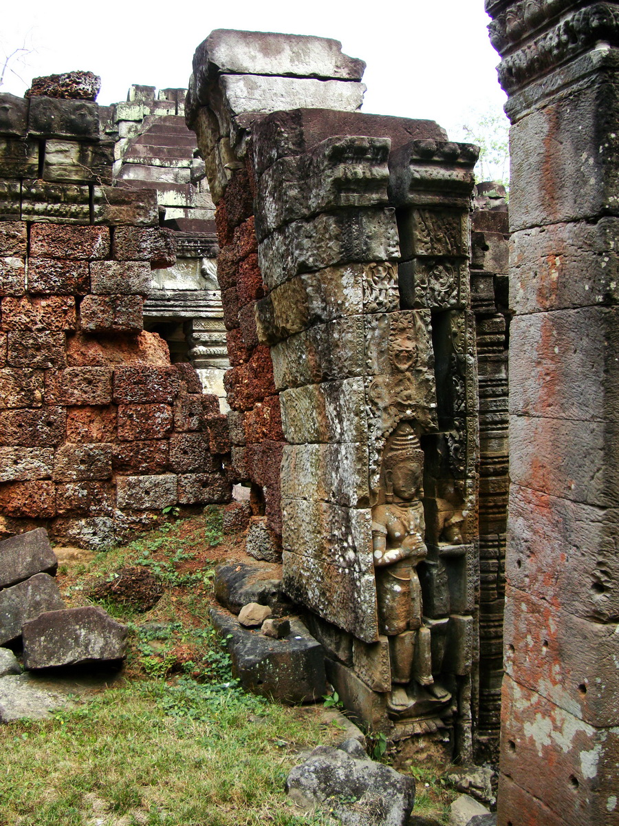 Preah Khan Bas relief mythic guardians Dvarapalas stand on guard 05
