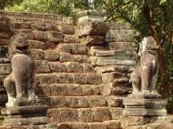 Asisbiz Preah Khan Bas relief 12th ce Khmer Style lion carvings 05