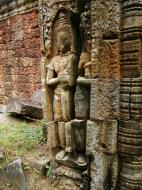Asisbiz Preah Khan Bas relief mythic guardians Dvarapalas stand on guard 04