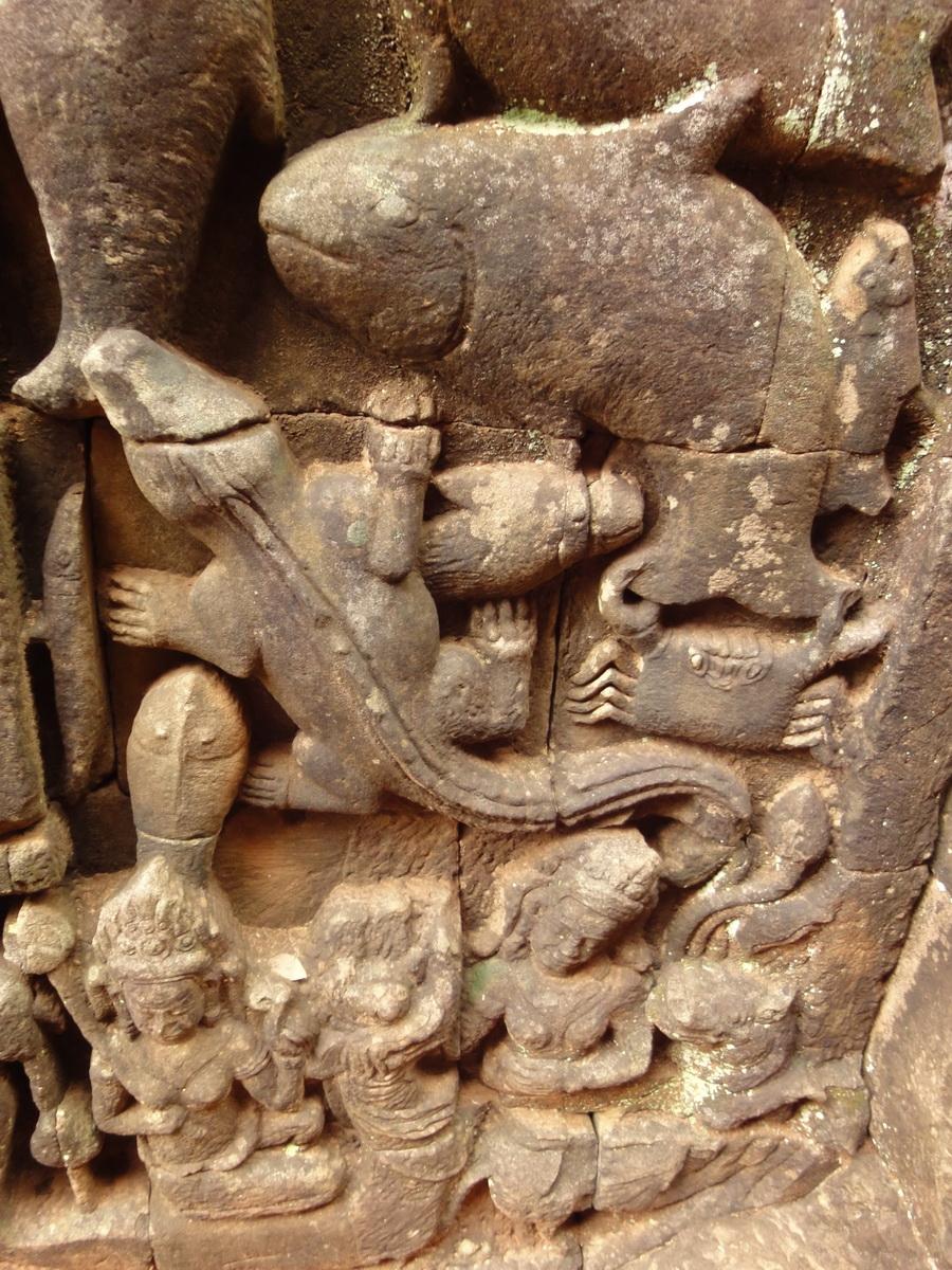 Leper King Terrace hidden wall underworld Nagas and deities 006