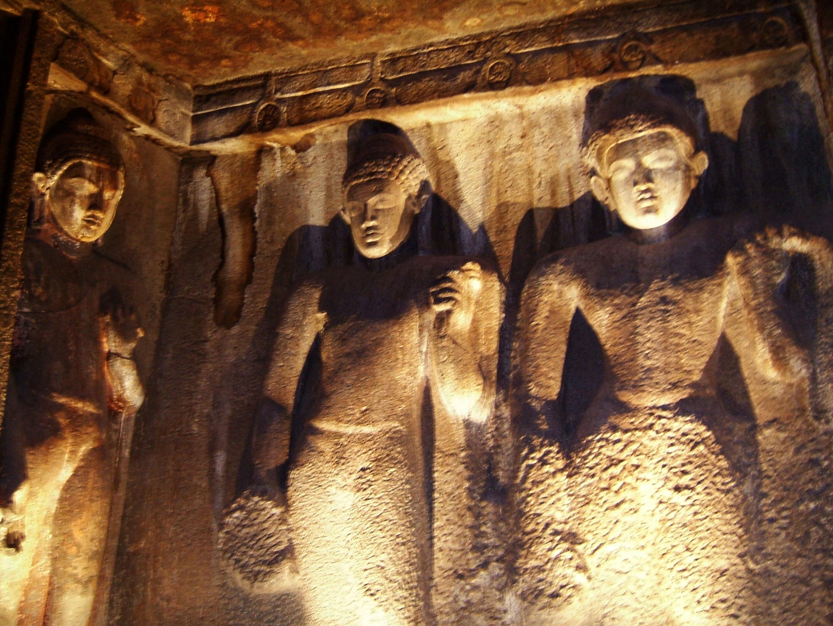 Marathwada Ajanta Caves Buddha carvings India Apr 2004 01