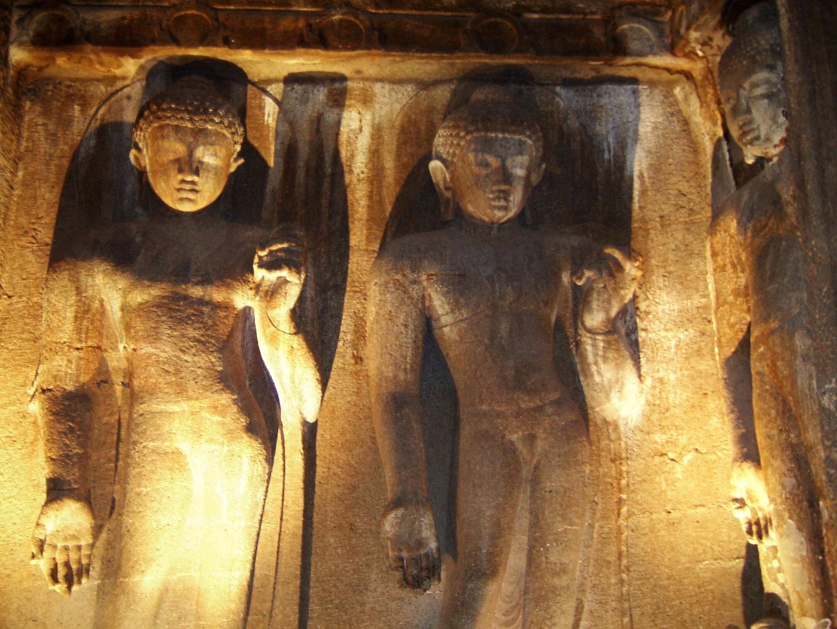 Marathwada Ajanta Caves Buddha carvings India Apr 2004 02
