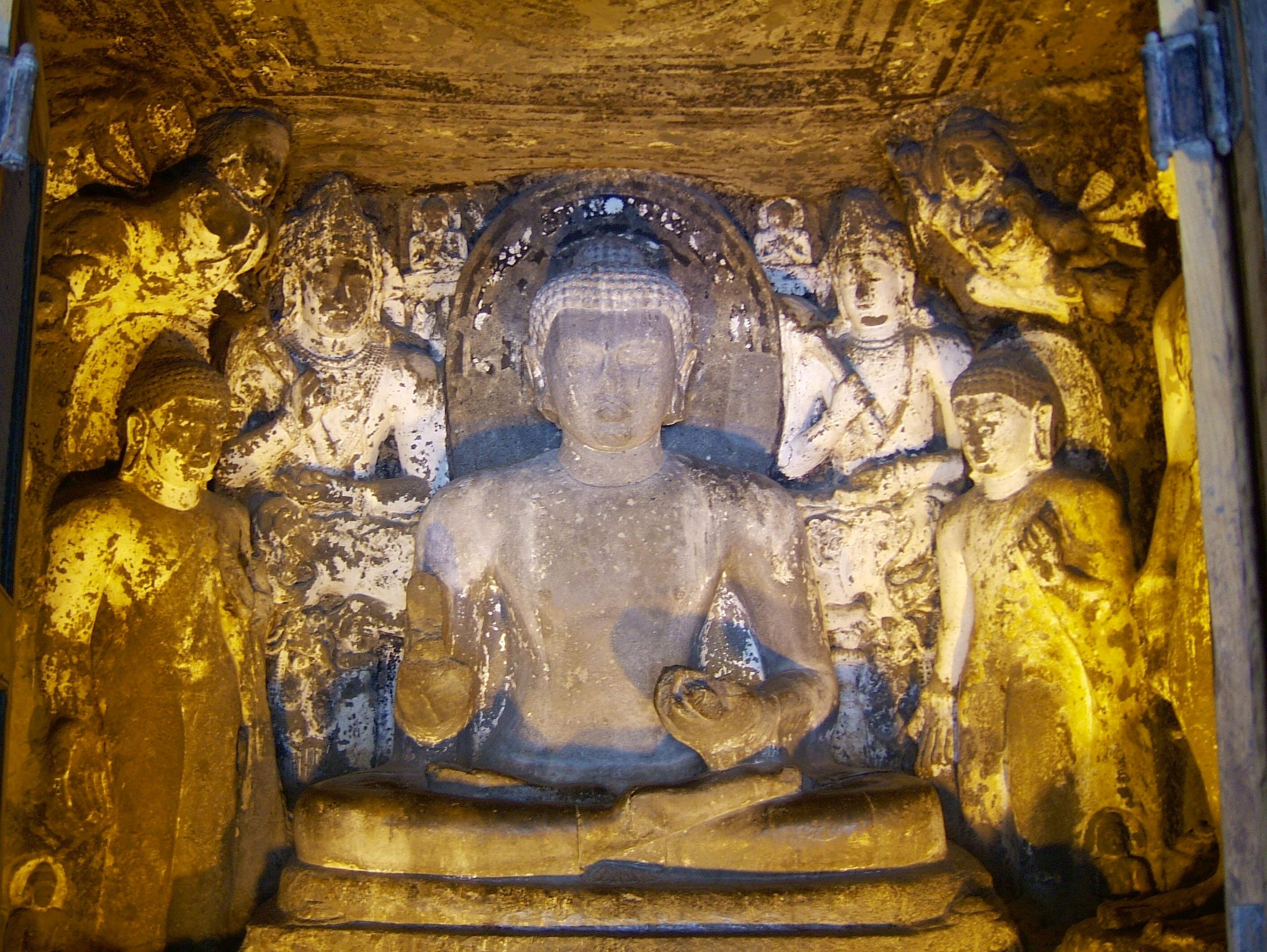 Marathwada Ajanta Caves Buddha carvings India Apr 2004 03