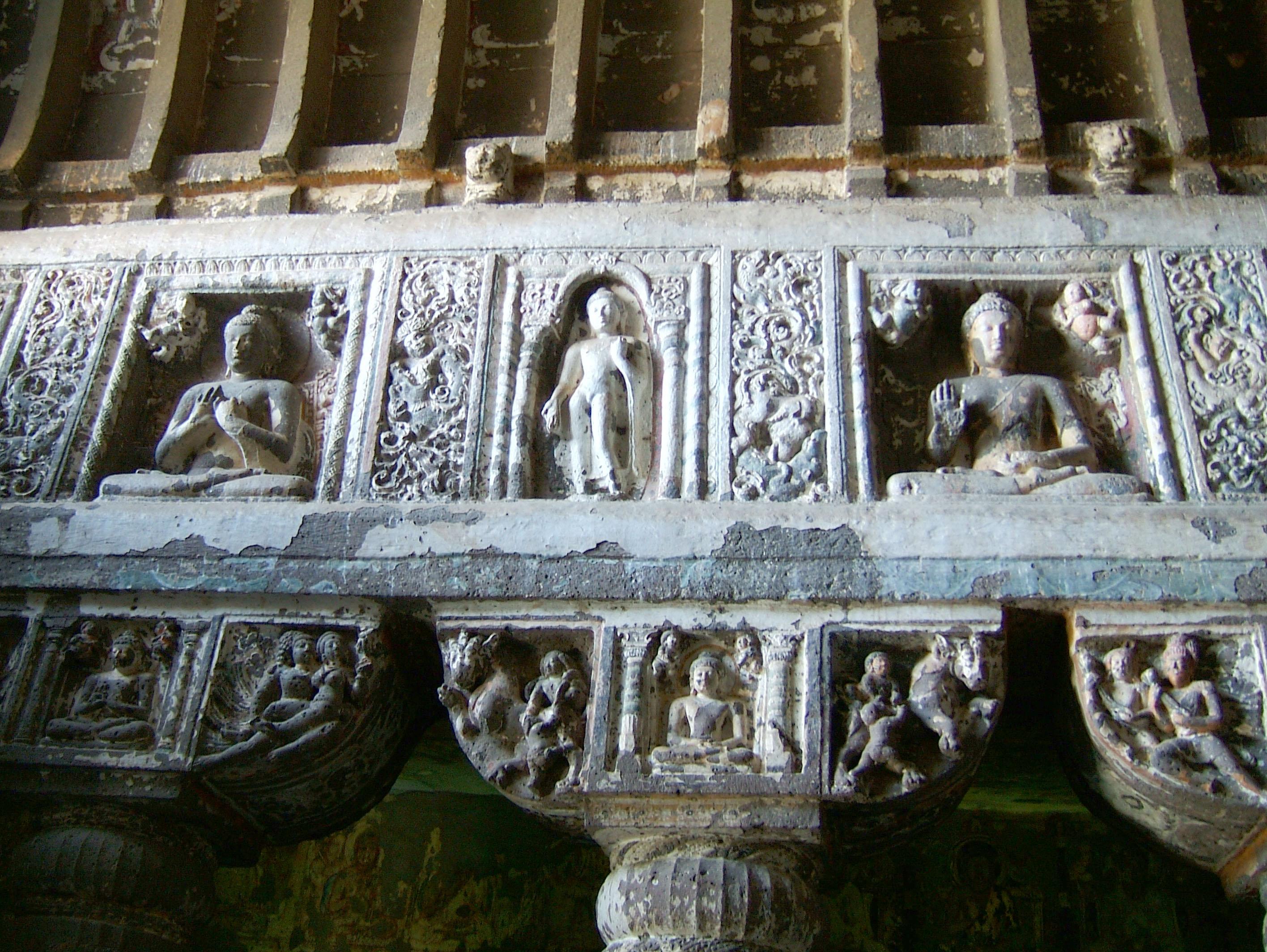 Marathwada Ajanta Caves Buddha carvings India Apr 2004 05