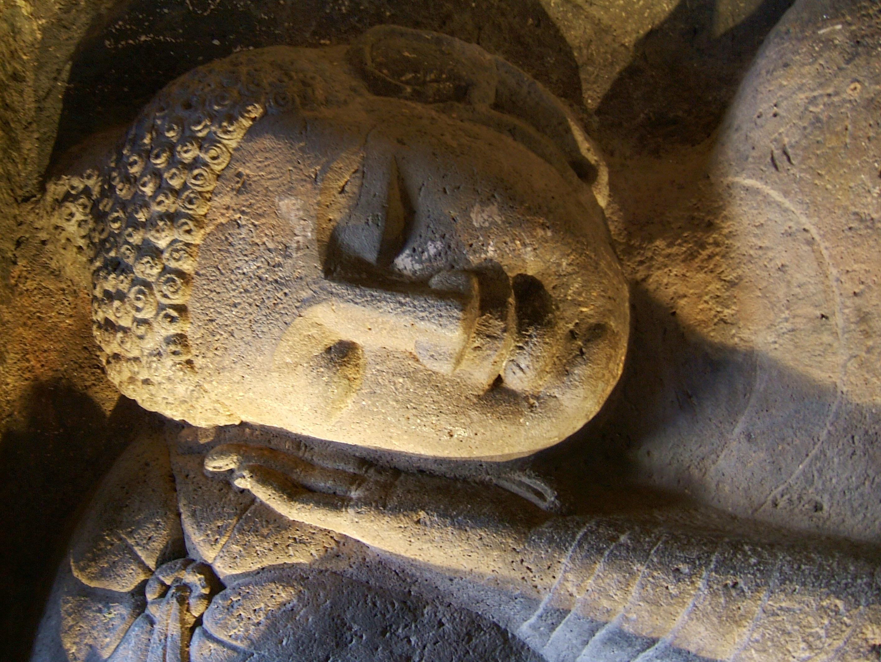 Marathwada Ajanta Caves Buddha carvings India Apr 2004 07