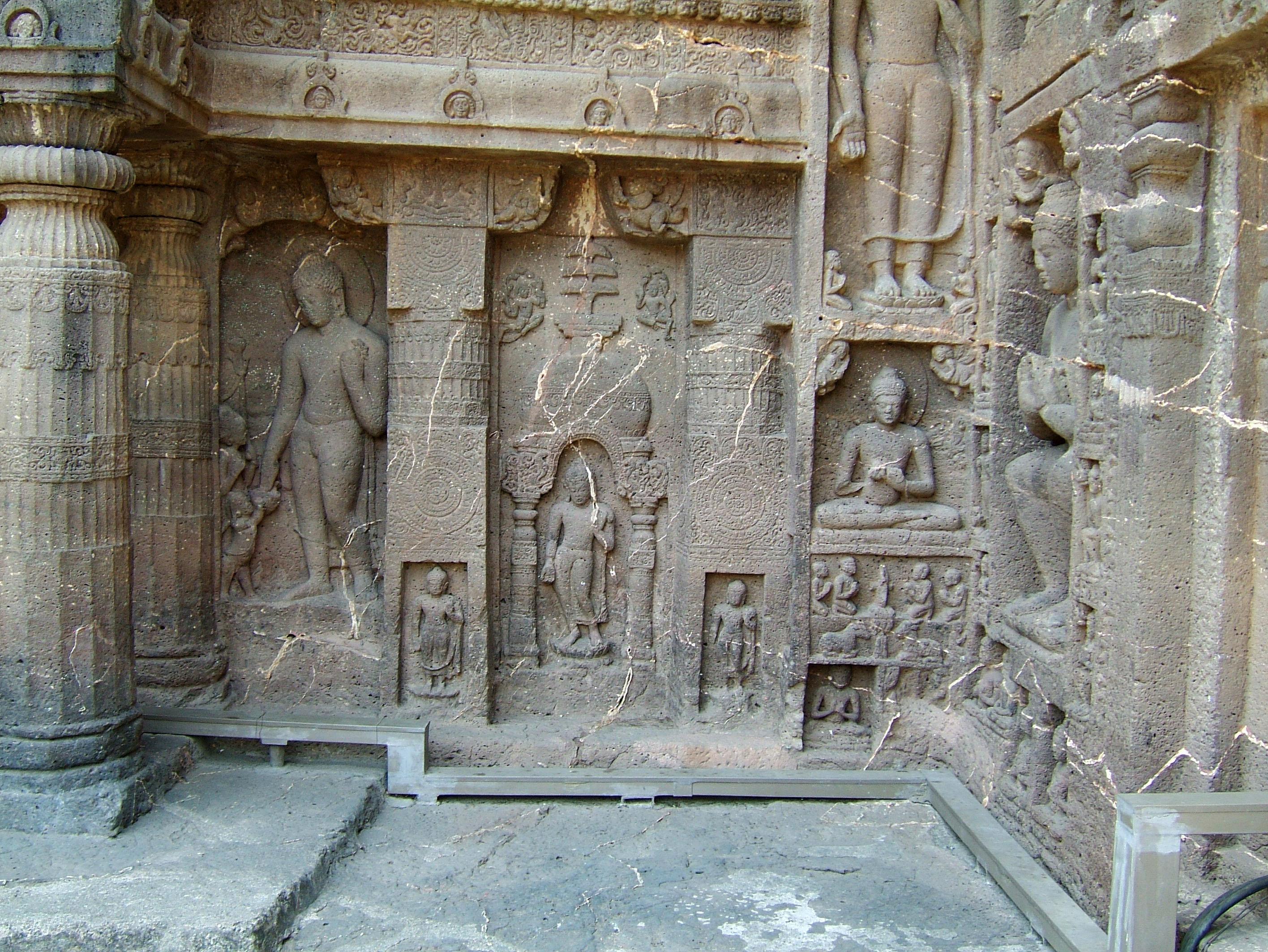 Marathwada Ajanta Caves Buddha carvings India Apr 2004 09