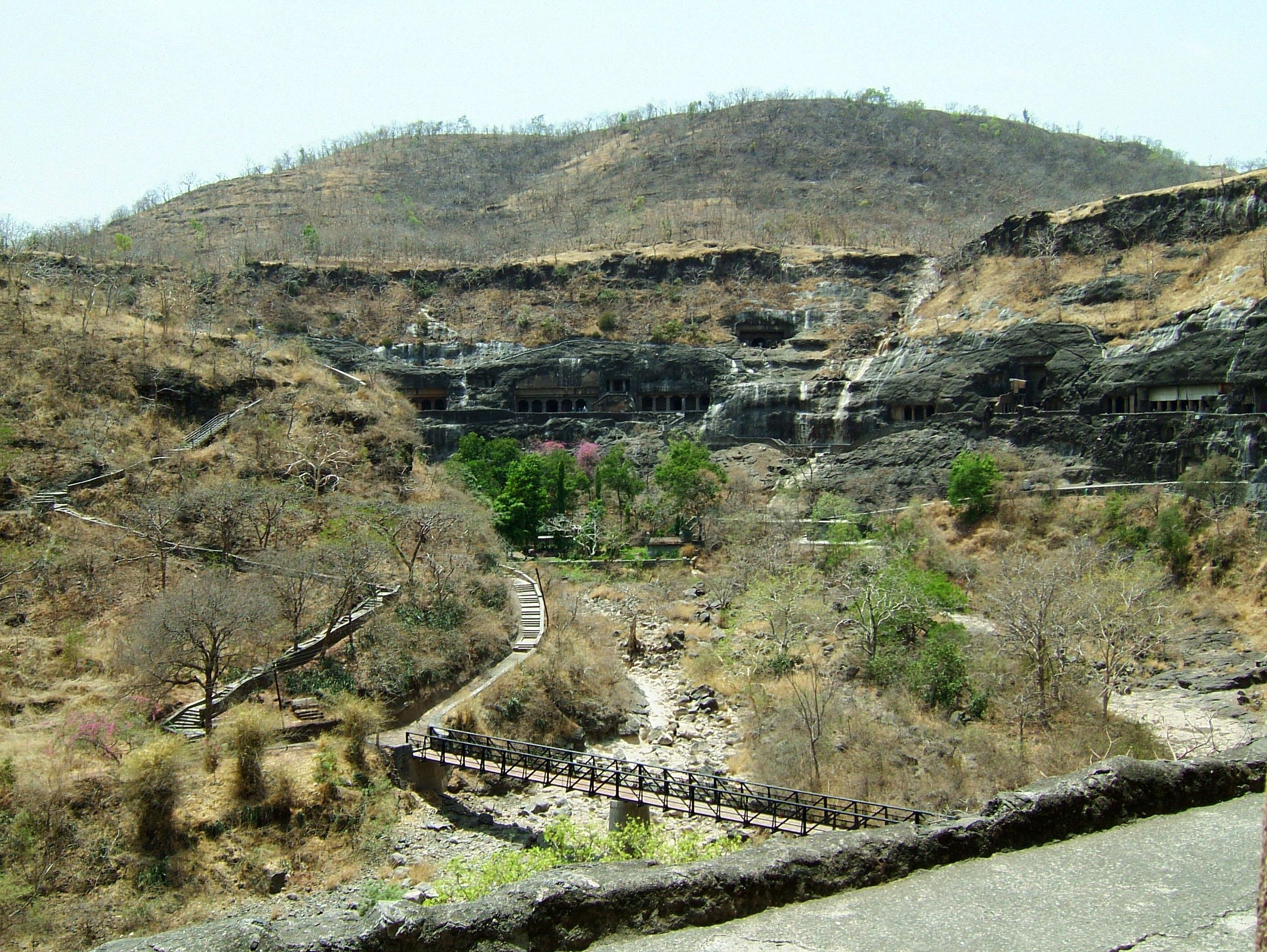 Marathwada Ajanta Caves entrance India Apr 2004 02