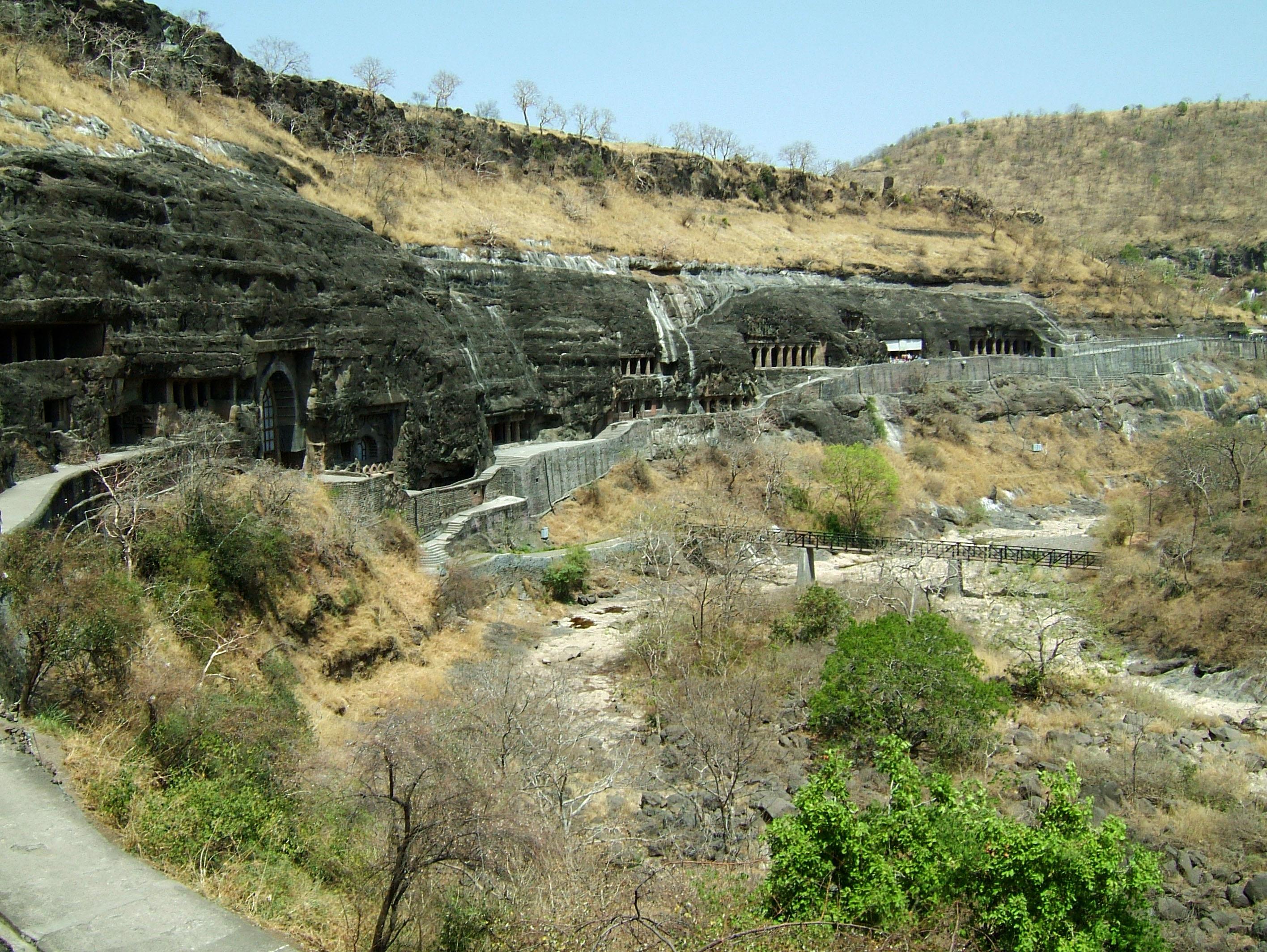 Marathwada Ajanta Caves entrance India Apr 2004 03