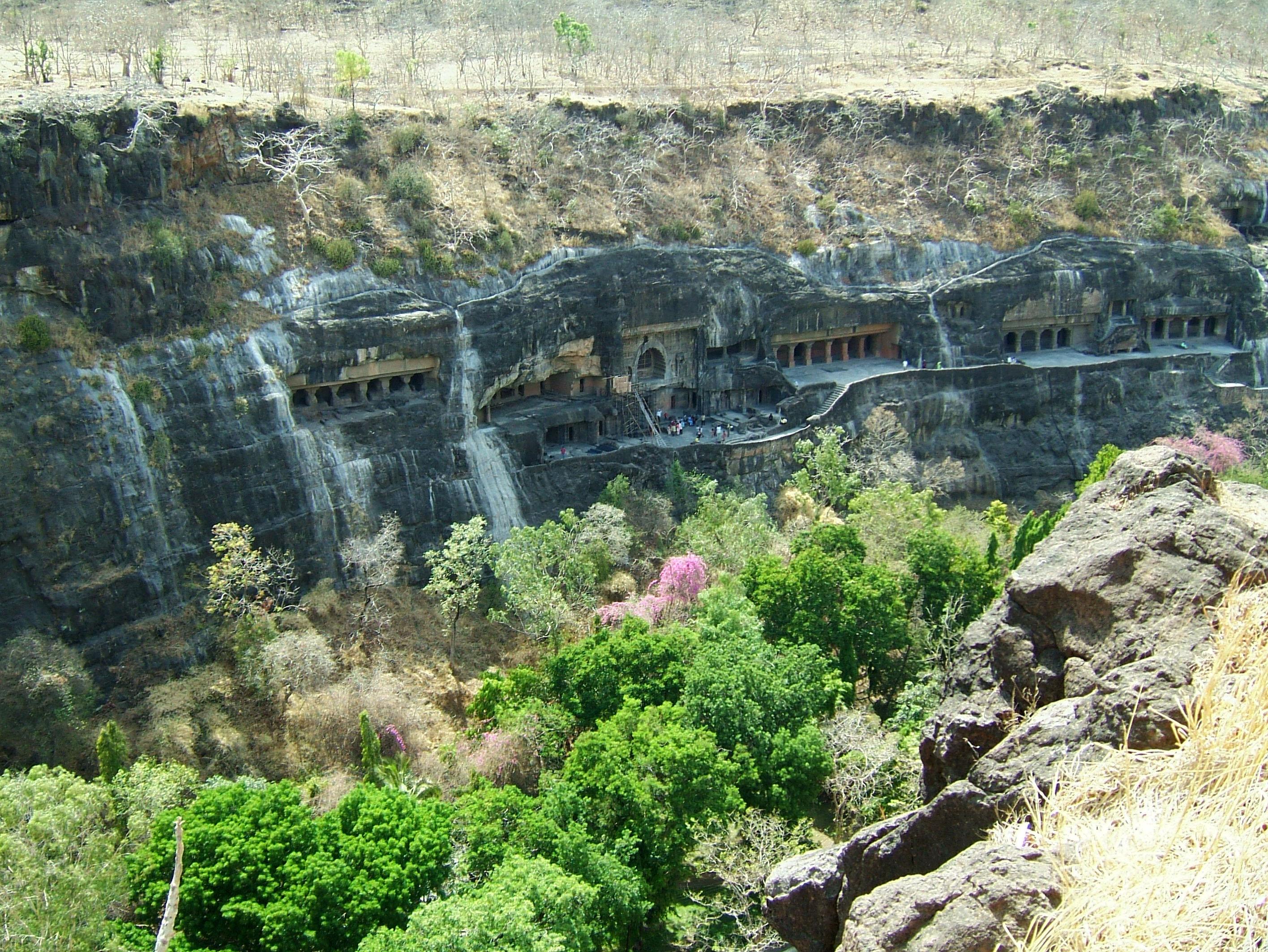 Marathwada Ajanta Caves entrance India Apr 2004 05