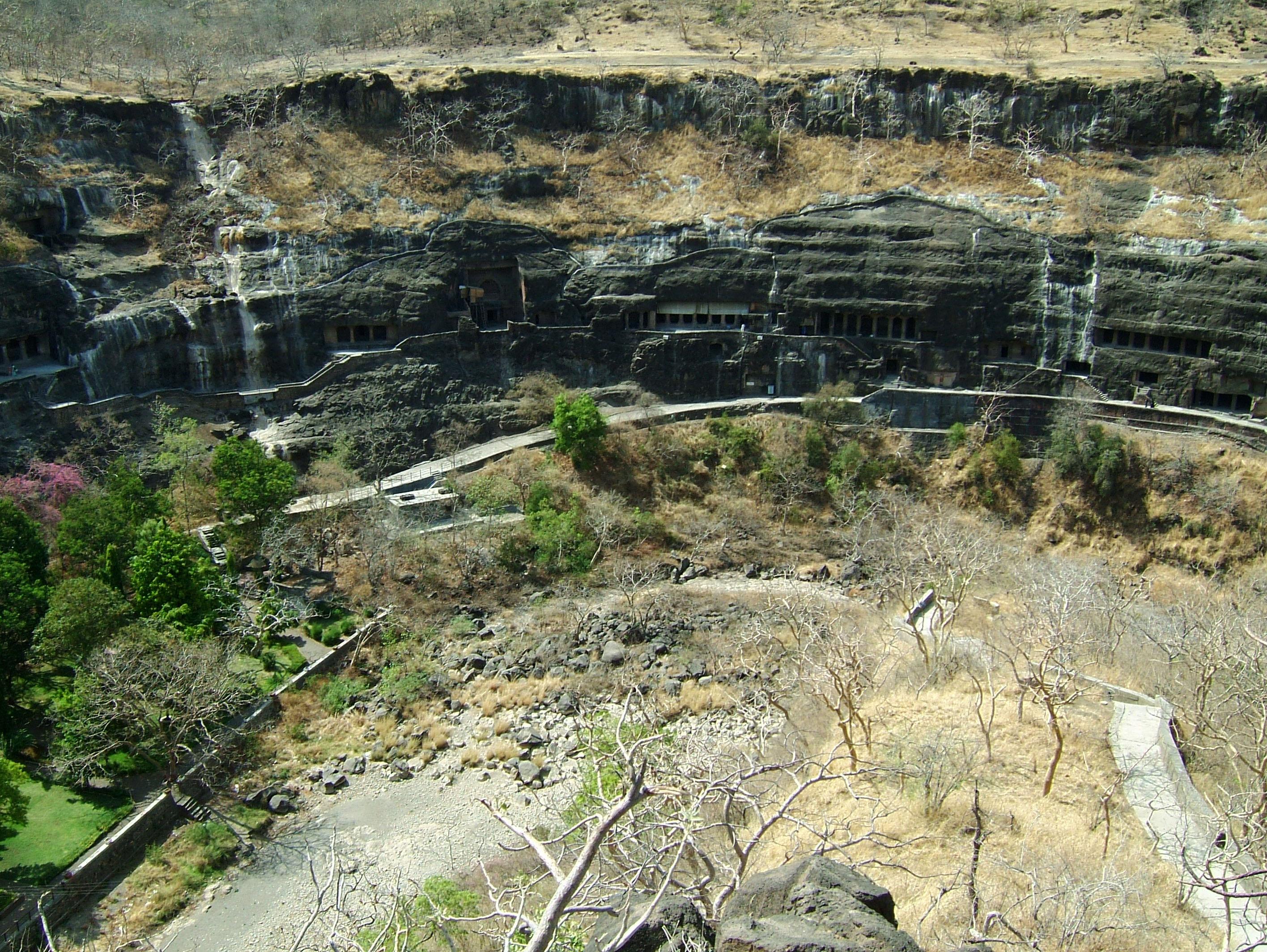 Marathwada Ajanta Caves entrance India Apr 2004 06