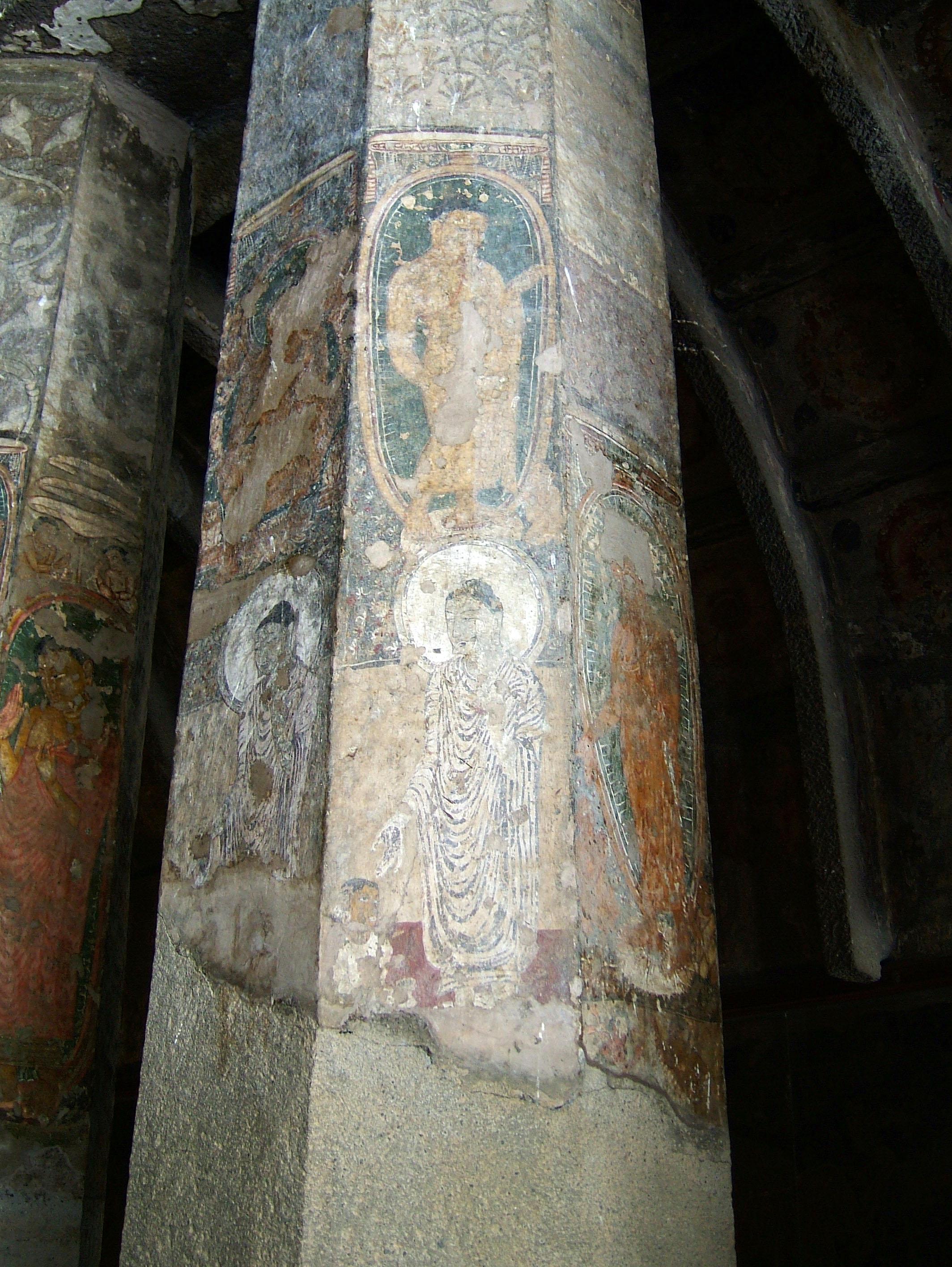 Marathwada Ajanta Caves paintings India Apr 2004 04