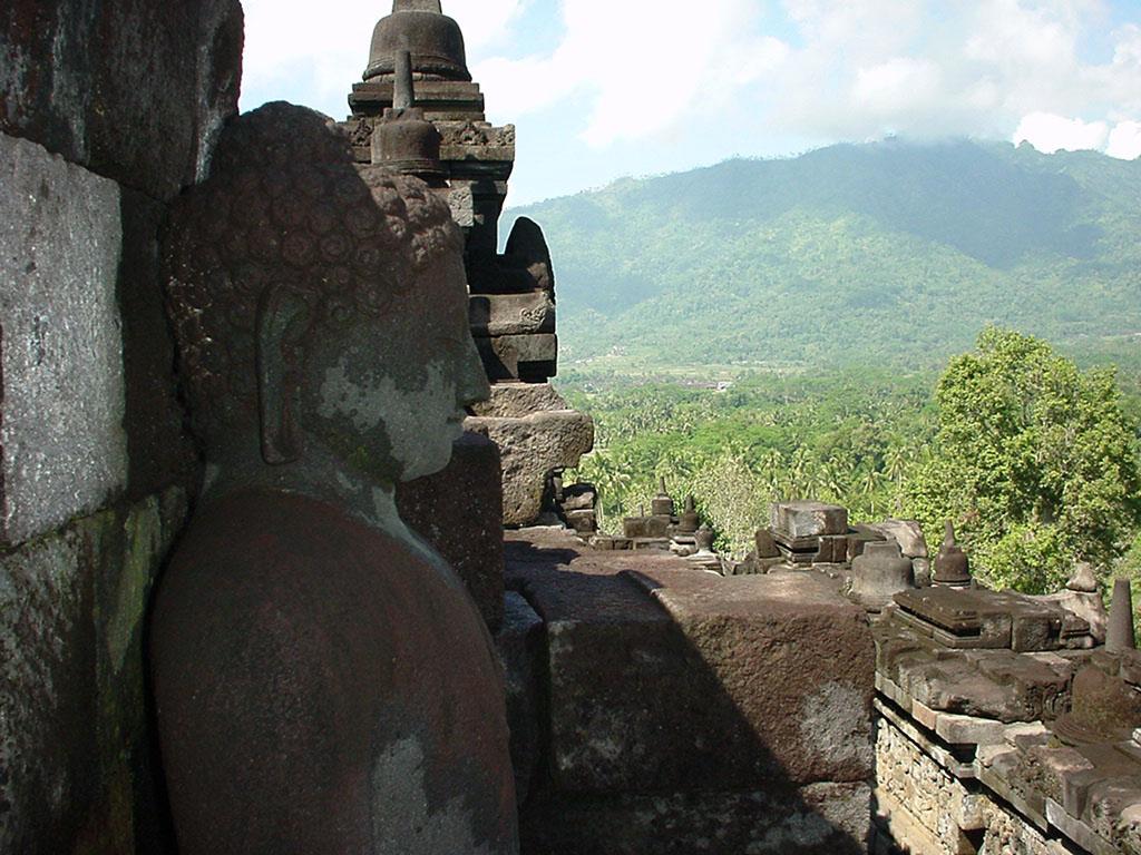 Java Yogyakarta Yogya Borobudur Pagoda Buddhas Aug 2000 02