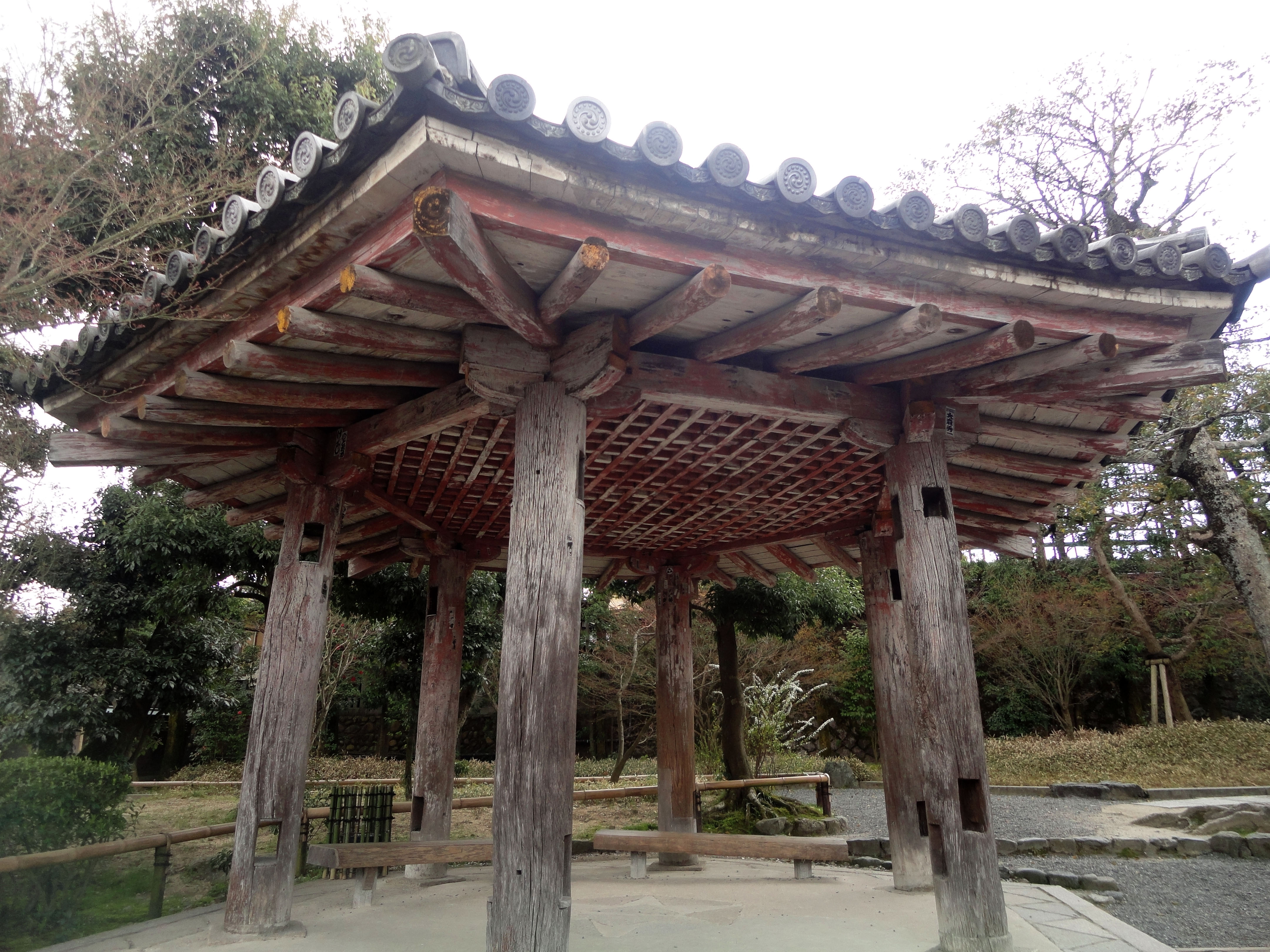 Byodo in Buddhist Jodo shiki garden Gazebo Kyoto Japan 01