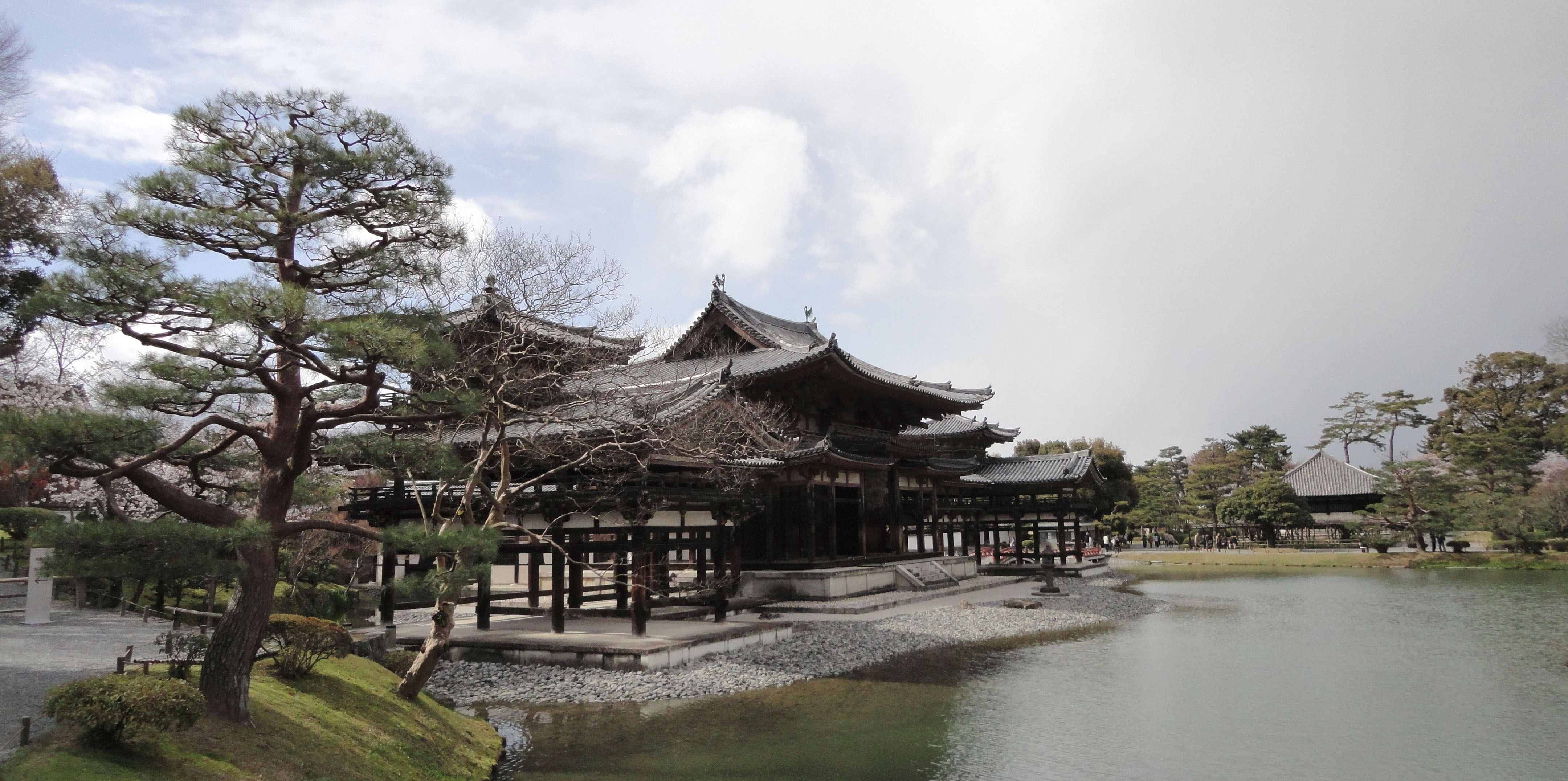 Byodo in Buddhist temple right side entrance Phoenix Hall Kyoto Japan 01