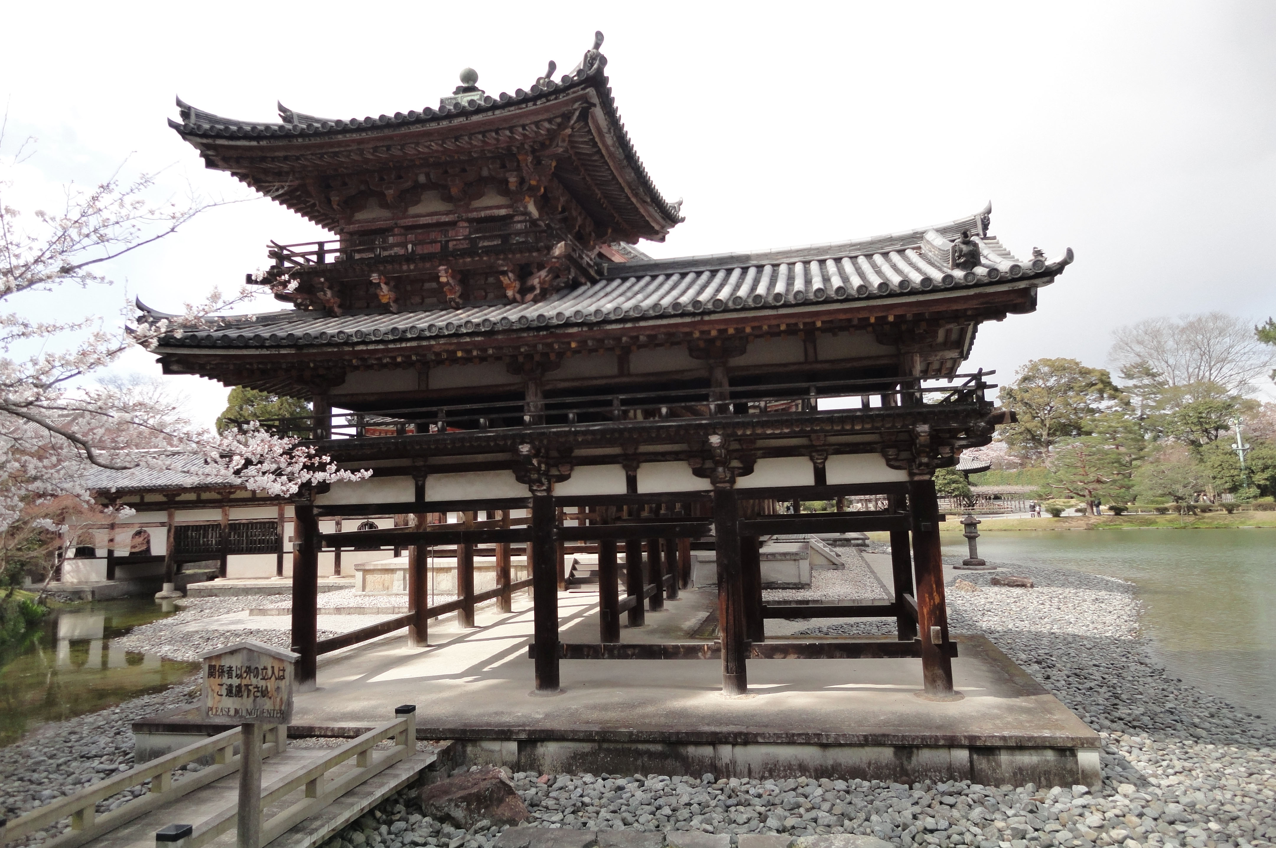 Byodo in Buddhist temple right side entrance Phoenix Hall Kyoto Japan 03