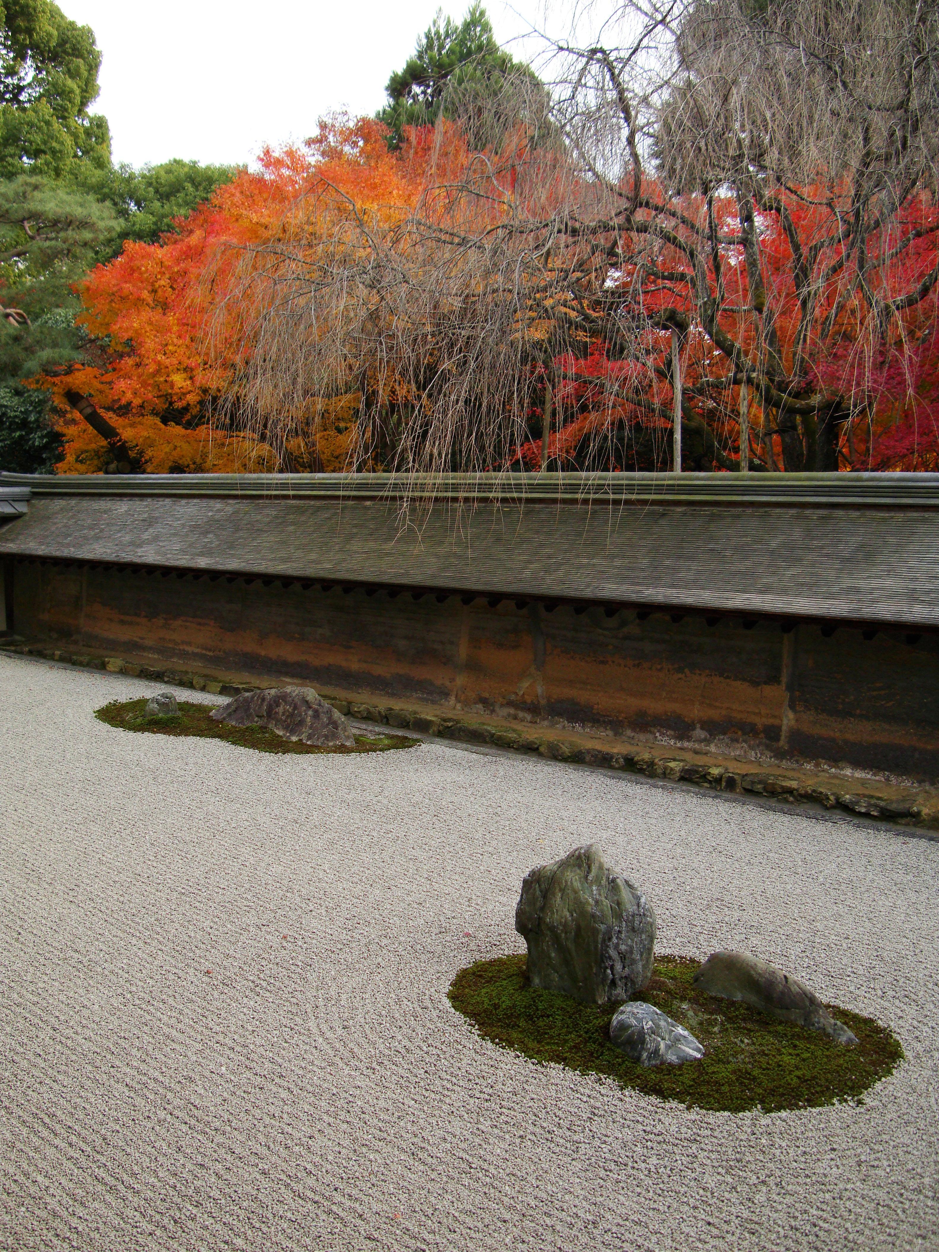 Ryoan Ji Hojo Teien Karesansui Zen Rock Garden Kyoto Japan Nov 2009 12