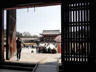 Asisbiz 1 Todai ji Buddhist temple complex middle gate viewed from inside daibutsuden 01
