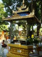 Asisbiz Yangon A Thi Tha Di Bronze Statue of Buddha garden area Dec 2009 03