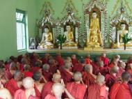 Asisbiz Hmawbi Monastery Sayadow performing his monks duty Dec 2000 04